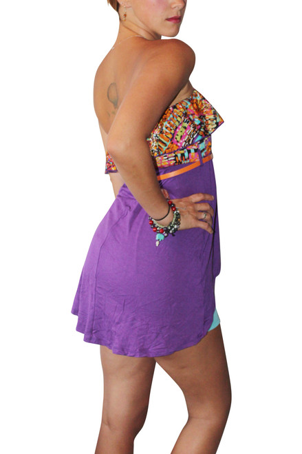 Strapless Belted Top With Ruffle Is Purple And Orange! 95% Rayon.  (A-55)