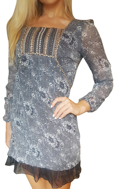 Long Sleeve Boho-Chic Peasant Dress/Peplum Fabric Belt! Navy .