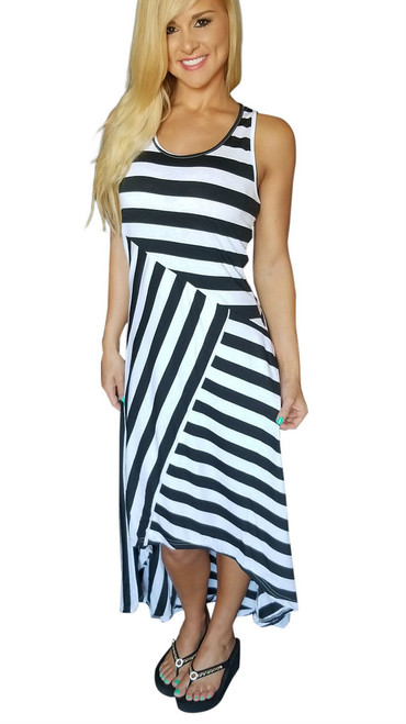 Sleeveless, Long Maxi Dress Black & White Asymmetrical Stripes!  (C-114)