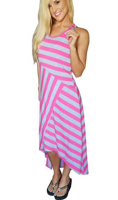 Sleeveless, Long Maxi Dress Fuchsia & Grey Asymmetrical Stripes!  (C-113)