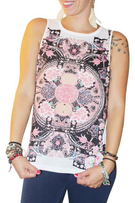 Retro Paisley Muscle Tee With Open Back! White With Black & Pink Print.  (C-55)