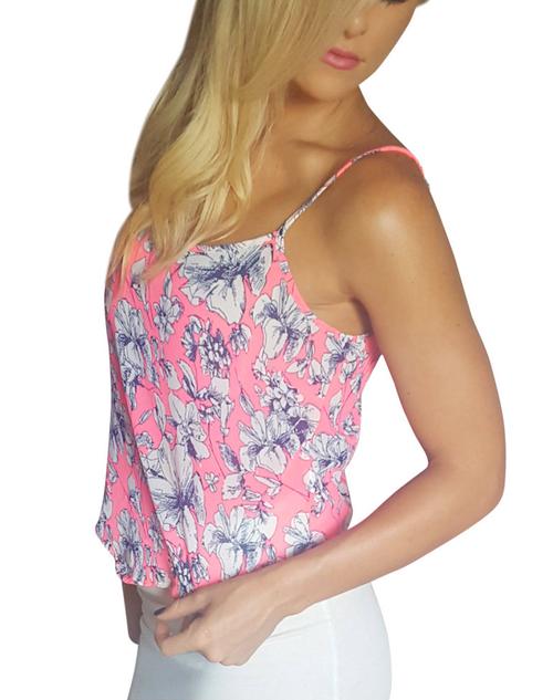 Major Name Brand Pink & Navy Floral Print Spaghetti Top!  (D-85)