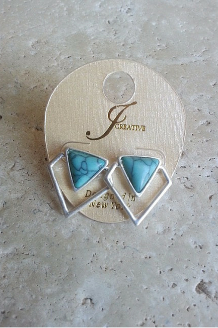 DEPARTMENT STORE EARRINGS. NATURAL TURQUOISE COLORED STONE.  (G-49)