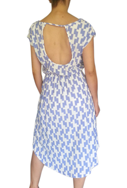 Blue & White Houndstooth Print Dress with Deep Cutout Back!  (D-41)