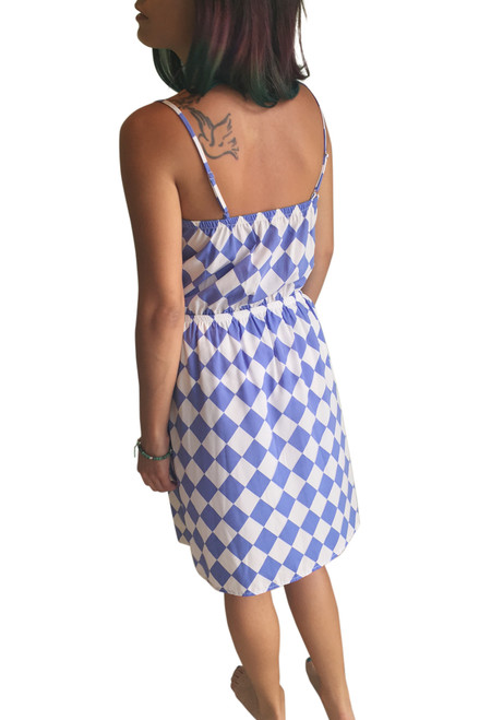 Fully Lined Blue   White Checkered Dress with Banded Middle! (D-39 ... 9fc1af218