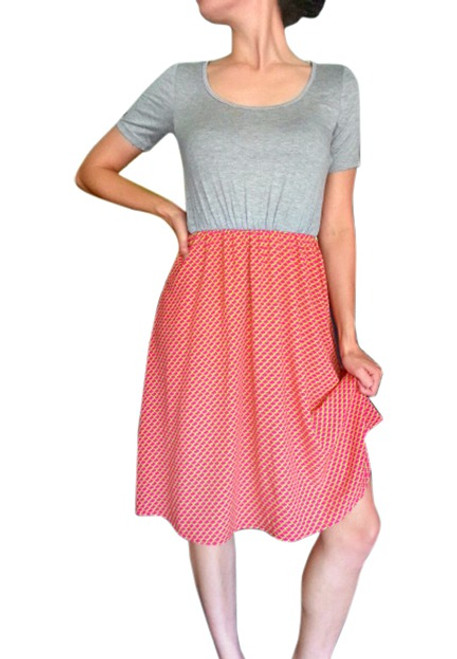 Rayon Dress is Heather Grey with Coral & Lime Skirt!  (D-44)