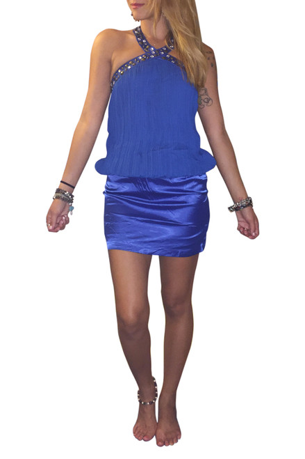 Jeweled & Studded Halter Top/Mini Dress. Blue. (C-35)