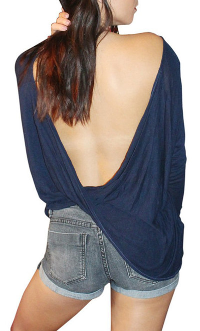 NORDSTROM'S QUALITY RAYON TOP w/ Open, Cowl Back! Navy Blue.  (A-45)