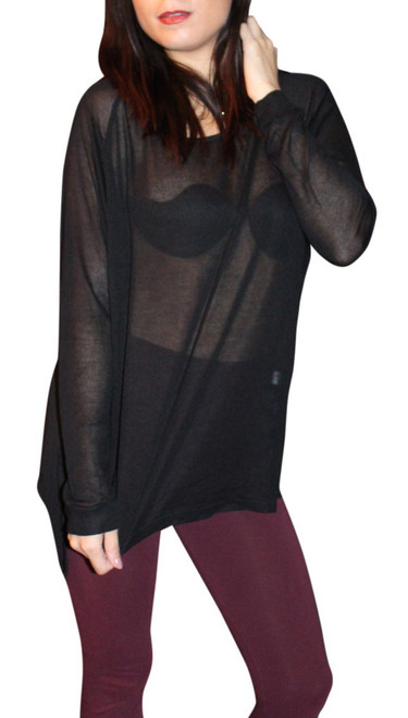 NORDSTROM'S QUALITY Solid, Sheer Black Boutique Top NU CONSTRUCTION! (D-131)