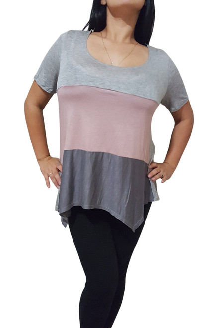 100% Rayon Top Grey With Blush Colorblock.  (C-9)