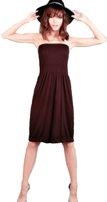 Strapless Ruched Elastic Bodice Skater Fit Brown Dress  (C-125)