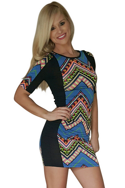 Blue Aztec Pattern Bodycon Dress from CHESLEY!  (D-26)