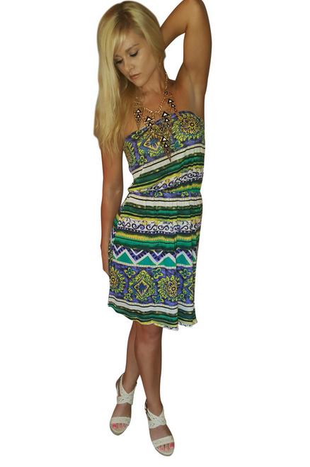 100% Rayon! Green, Strapless Tribal Print Dress from TEA n ROSE!  (C-185)