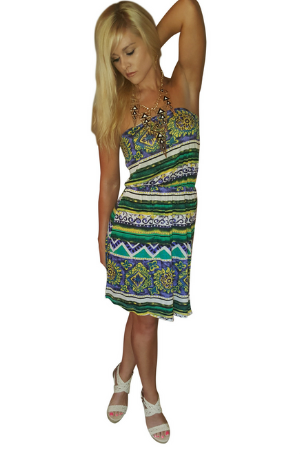 100% Rayon! Green, Strapless Tribal Print Dress from TEA n ROSE!  (C-185)