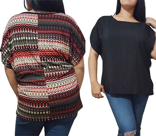 Plus Size Black Top With Orange Tribal Print Back.  (C-24)