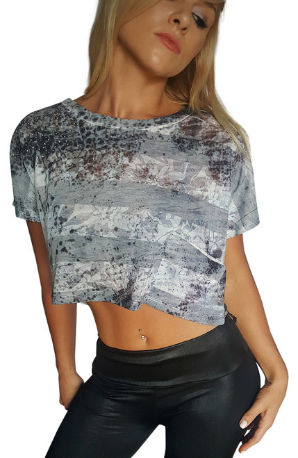 Crop Top Daytrip From BUCKLE Grey/White and Stones!  (A-120)
