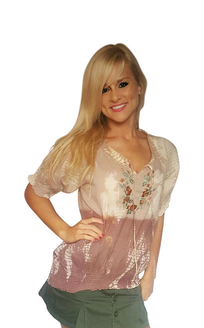 100% Cotton! Boho Tie Dye Embroidered Peasant Top.  Earth Mocha.  (C-15)