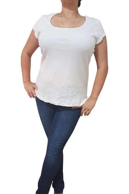 PLUS SIZE 100% Cotton. Ribbed, Scoop Neck Top in White from DOTS!  (A-91)