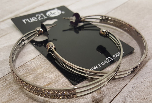RUE 21! Double Hoops with $6.99 Tags! Silver with Micro Stones.  (G-2)