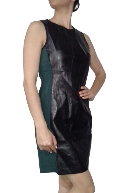Green & Black Dress with Vegan Leather Panel and Long Zipper Back!  (D-11)