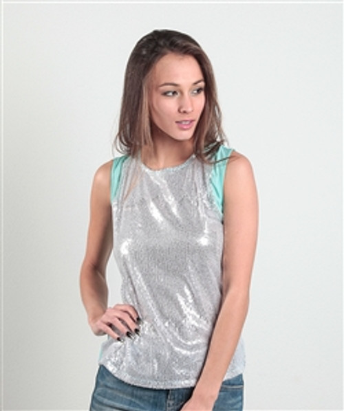 Fitted, Sequined Top with Keyhole Back! Mint, Silver.  (B-167)