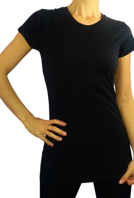 Classic, Perfect Fit Black Tee! 95% Cotton and 5% Spandex.  (E-137)