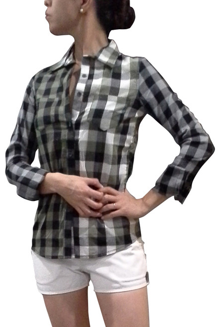 100% Cotton, Long Sleeve Plaid Buttondown! Green.  (B-178)