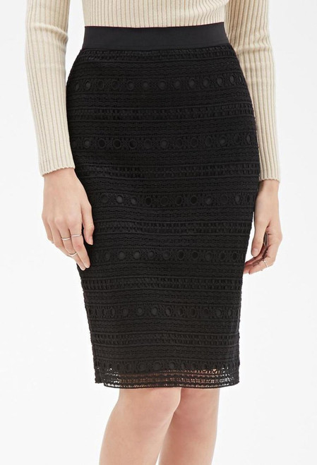 Black Crochet Lace Overlay Pencil Skirt from America's Hottest Brand!  (D-92)