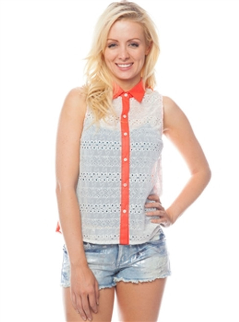 Sleeveless Eyelet Top with Ivory Front & Orange Coral Back!  (A-166)