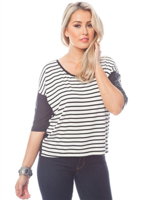 Black & White Striped Top with Sleeves!  (C-137)