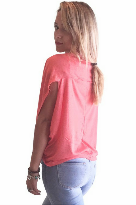 Over-the-Shoulder, Open Cardigan from Ambiance Apparel! Coral.  (B-185)