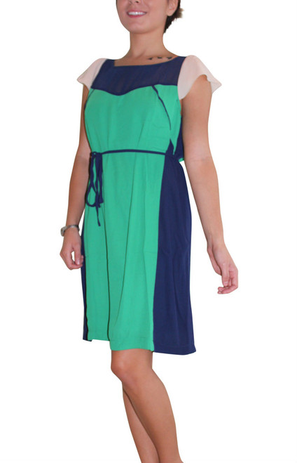 Green And Navy Blue Colorblock Dress Ties At Waist!  (D-51)
