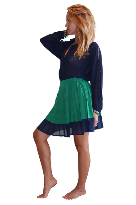 Pleated Green Skirt With Navy Trim From LucyParis.com  (E-60)
