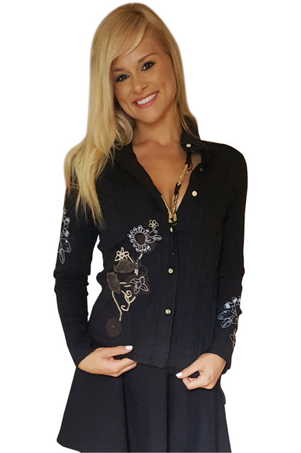 100% Cotton Black Western Wear Button Down Shirt With Embroidery!  (A-147)