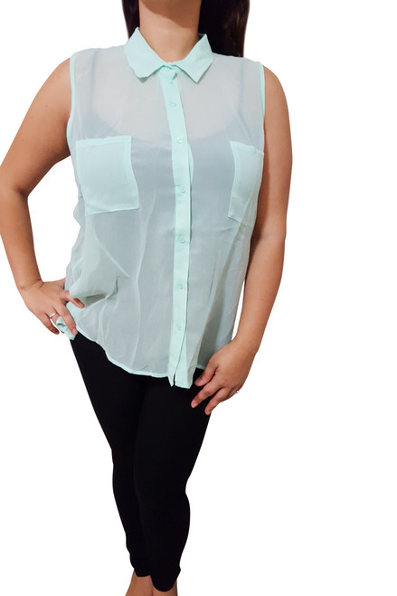 Sleeveless, Sheer Plus Size Button Down Top. Mint. (B-173)