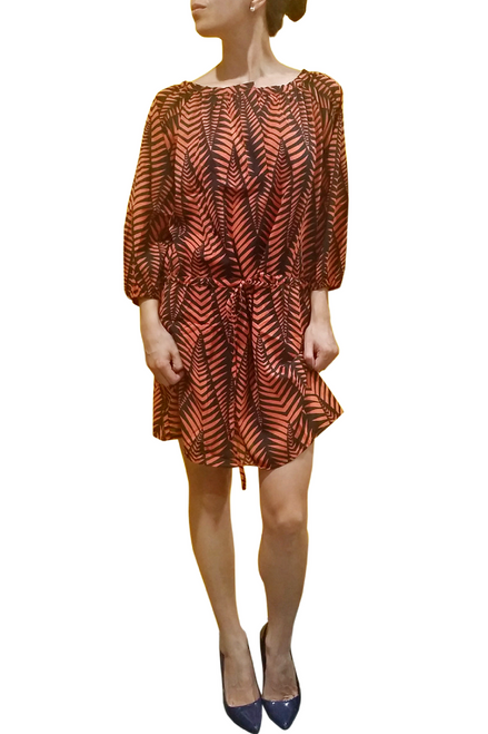 LONG SLEEVE SHIFT DRESS IN ORANGE & BLACK FLORAL PATTERN FROM LUCY PARIS!  (D-49)