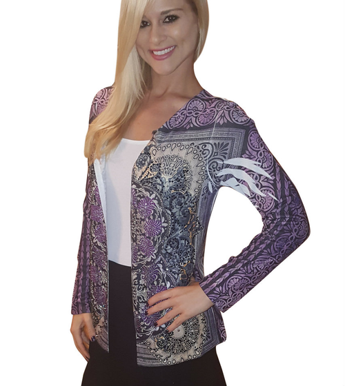Flyaway Open Cardigan has Retro Sublimation and Stones! Purple. Made In USA. (B-48)