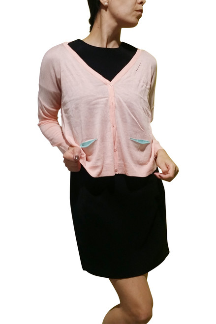 Beautiful Acrylic Material. Button Down Cardigan. Peach With Teal Pockets. (B-29)