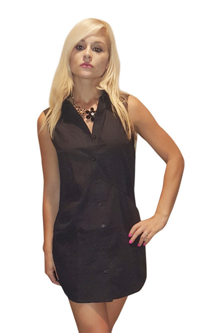 Classic Cotton Shirt Dress! Black. From Casting L.A.! (C-150)