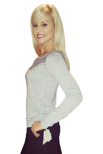 Grey Long Sleeve Lace Embellished Top From Belle du Jour! (A-36)