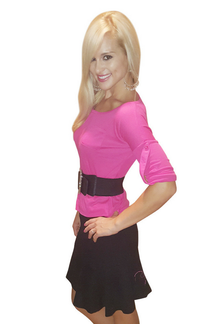From COLOR STORY! 65% Cotton Top. Cuffed Long Sleeve with Button. Fuchsia. (A-90)