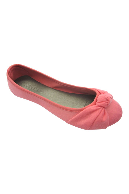Coral Pink Ballet Flats with Adorable Bow! Frenzy Footwear. (L-3)