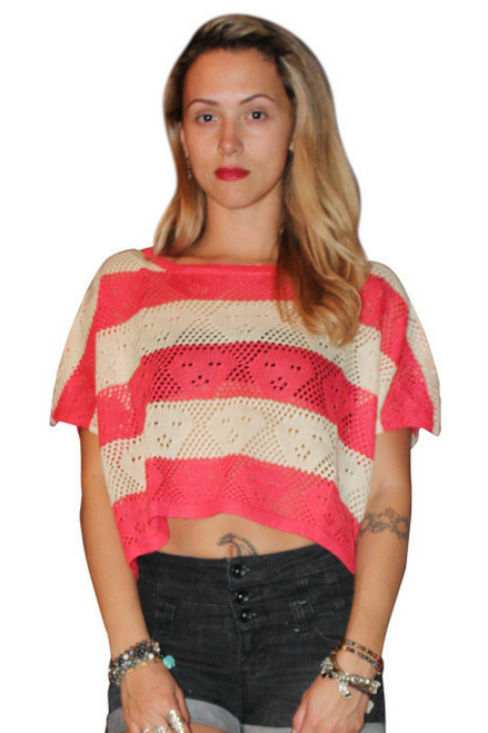 Crochet Top Sweater Is 65% Cotton! Cream/Coral (A-30)