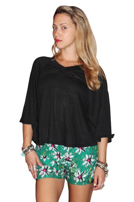 Rayon Blend V-Neck Top With Cape Sleeves! Black. (A-183)
