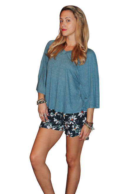 Rayon Blend V-Neck Top With Cape Sleeves! Blue. (A-181)