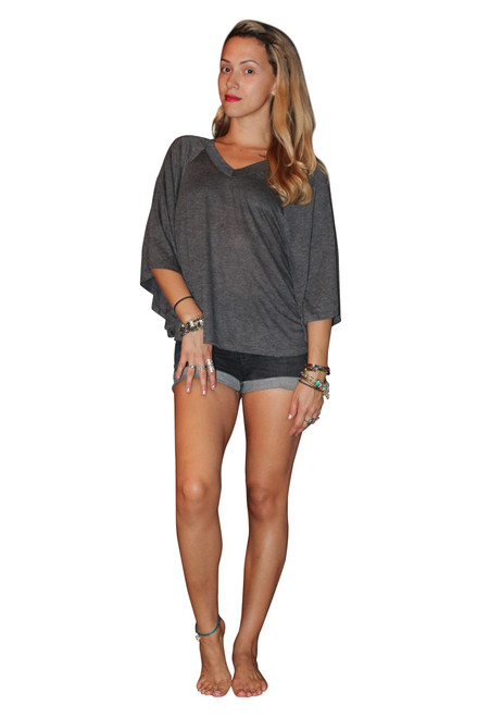 Rayon Blend V-Neck Top w/Cape Sleeves! Grey. (A-182)