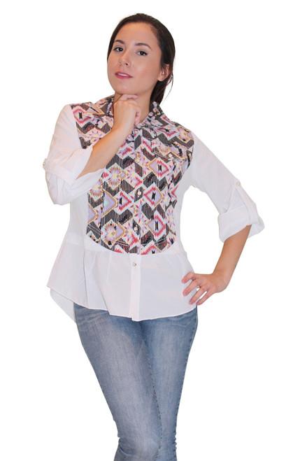 Cotton Black Aztec Pattern Western Shirt! Long Sleeve, Button Down. Black. (B-35)