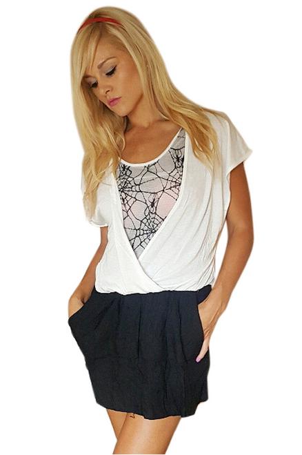 Black & White Rayon Dress with Web Design Back & Pockets! (C-138)
