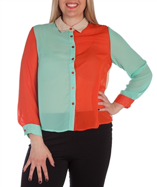 PLUS SIZE Orange Colorblock Button Down Top from CLEO!