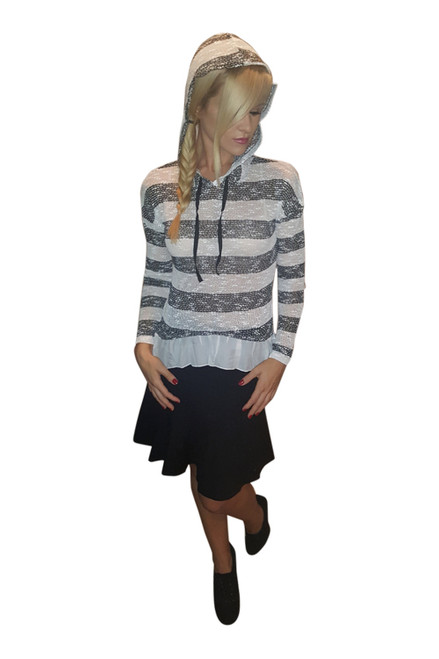 Lightweight Knit Top with Hoodie and Chiffon Peplum. Black & White. (B-188)